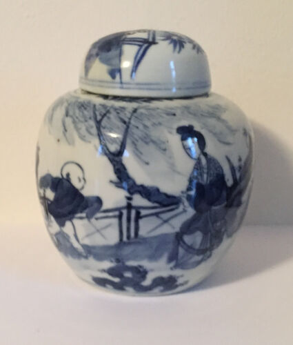 Chinese Porcelain Vase Jar Urn Blue & White Glaze Boys Landscape 19th c. Kangxi