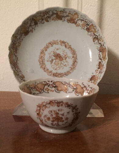 Antique 18th c. Chinese Export Porcelain Tea Cup & Saucer Bowl Sepia 1780