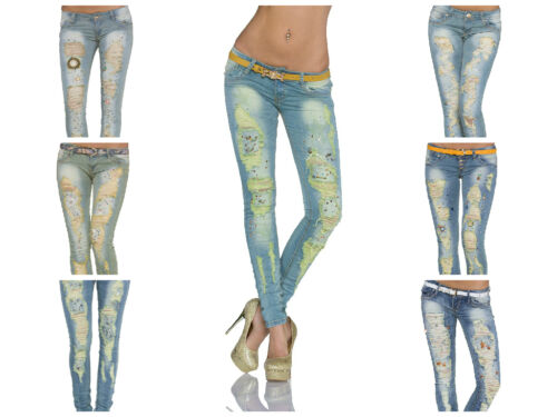 Women Ladies Skinny Straight Stretchable Jeans with Belts sizes available