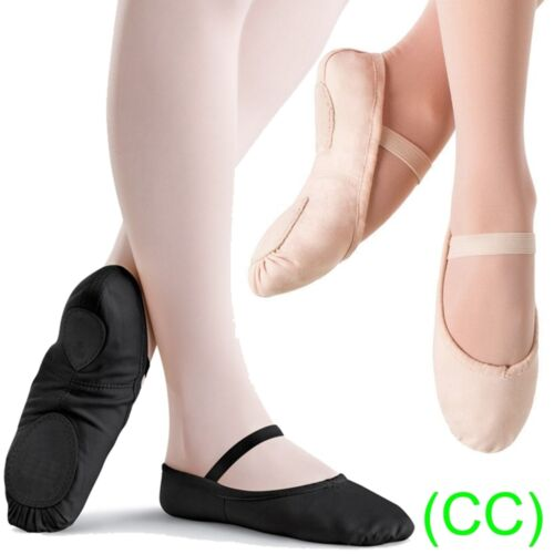 Pink & Black CANVAS Ballet Dance Shoes split suede sole Children's & Adults (CC) <br/> IMPORTANT: PLEASE BUY ACCORDING TO OUR SIZE CHART