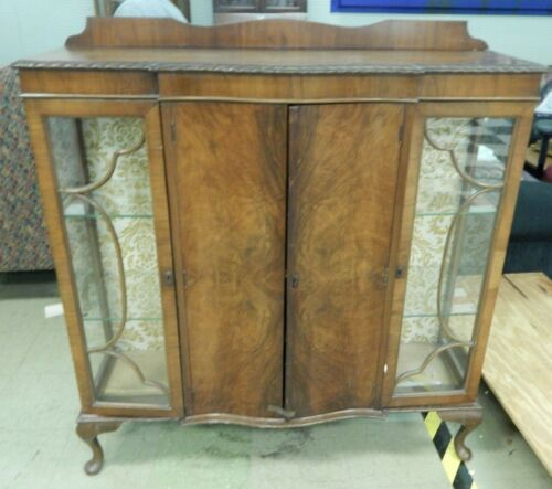 Antique 1920s Carved Mahagony Bookcase & China Cabinet Burl Doors (Wood & Glass)
