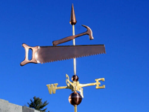 """COPPER """"  """"SAW & HAMMER """" WEATHERVANE  MADE IN USA #110"""