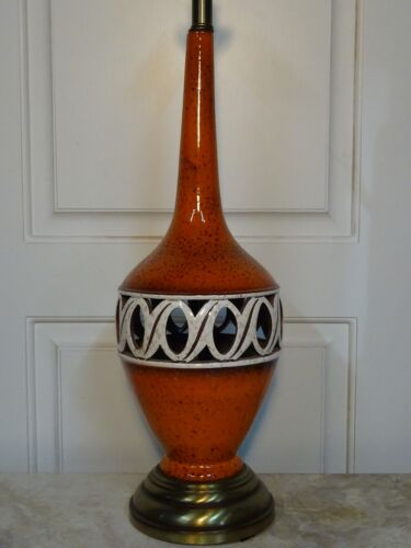 MID CENTURY MODERN CERAMIC POTTERY ORANGE SPECKLE OPENWORK GLAZE LAMP VINTAGE