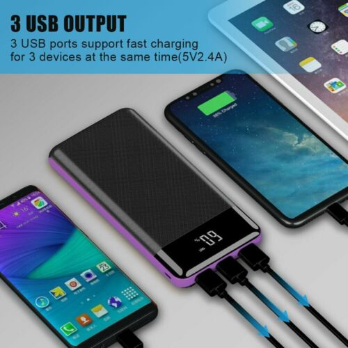 300000mAh 3USB Portable External Battery Charger Solar Power Bank For Phone US