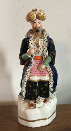 Antique 19th century Staffordshire Pearlware Figure of a Turk
