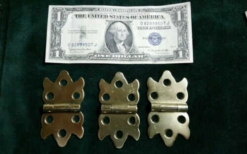Matched set of 3 antique cabinet hinges solid brass restored