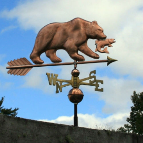 "MASSIVE COPPER   ""  BEAR W/SALMON "" WEATHERVANE  MADE IN USA #240"