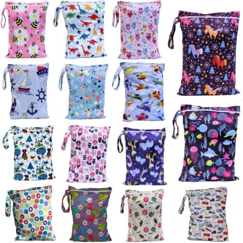 Waterproof Kids Wet Bag 30x40cm for Nappies, Clothes, Swimmers, nappy bag eco <br/> Single + Double zip bags 30x40cm + larger 35x40cm bags