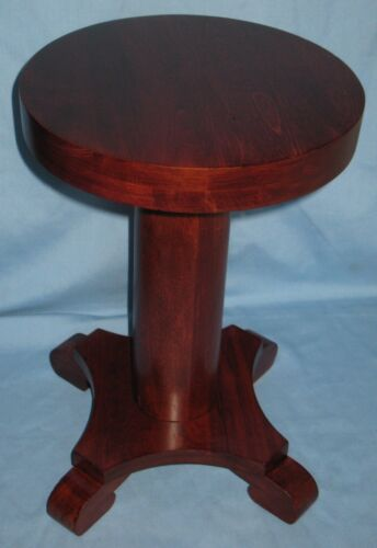 ANTIQUE SOLID WOOD MAHOGANY FINISHED PEDESTAL PLANT STAND STOOL EMPIRE STYLE