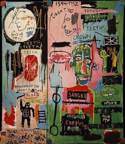 """Jean Michel Basquiat Abstract Oil Painting on Canvas decor In Italian 20x24"""""""