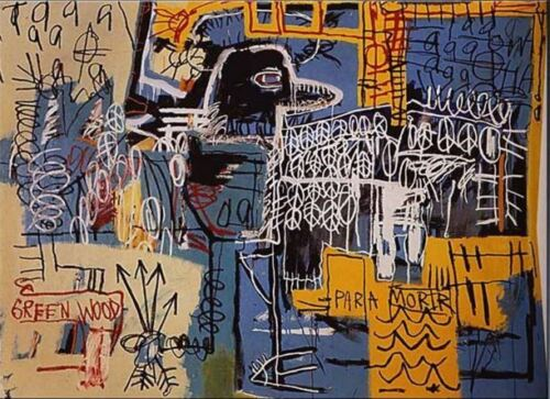 """Jean Michel Basquiat Oil Painting on Canvas abstract wall """"Bird on Money"""" 24x30"""""""