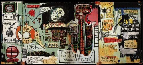 "Jean Michel Basquiat oil painting on canvas 24x48"" Expressionism - ""Notary"""