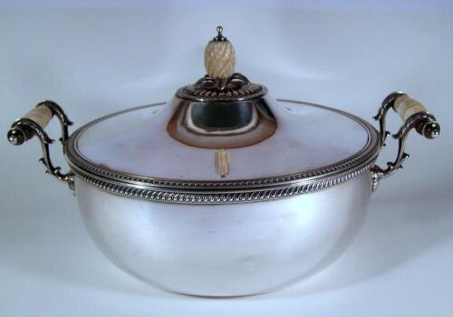Antique English Silver Plate Three Piece Server with Pineapple Finial