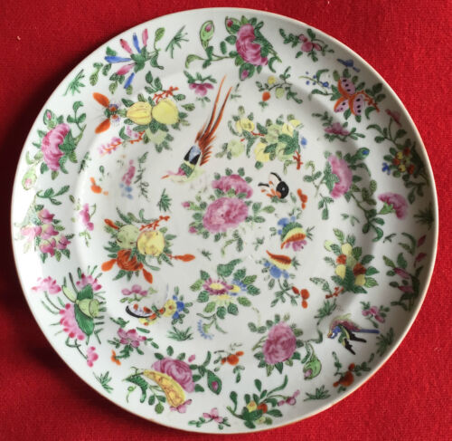 19th c. Chinese Export Porcelain Plate Famille Rose Sacred Bird & Butterfly