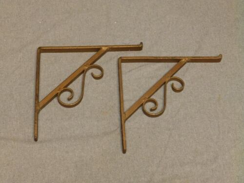 Vintage Pair Heavy Duty Cast Iron Shelf Brackets Old Industrial Hardware 563-16