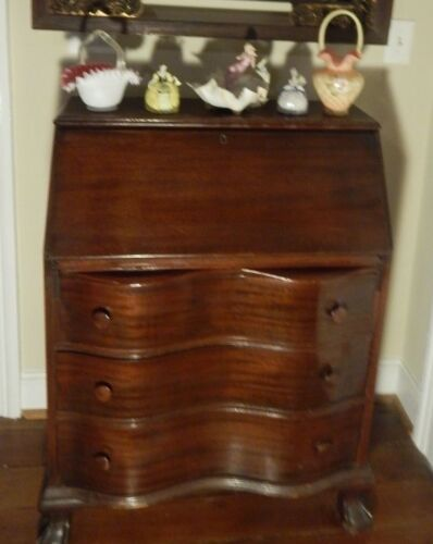 "Mahogany Secretary Desk Slant Top Curved Front Drawers Lion Feet 39""H x30.25""W"