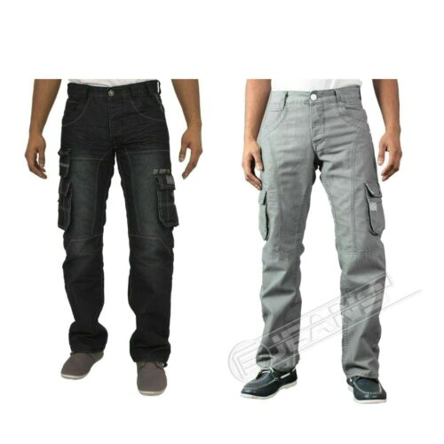 Mens New Enzo EZ319 Dark Wash Cargo Combat Style Jeans Pants Trousers Size 28-48