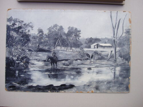 19 Century Unsigned Oil Painting Titled Drover