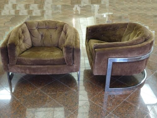 PAIR JULES HEUMANN METROPOLITAN POLISHED CHROME SUEDE BARREL CLUB LOUNGE CHAIR