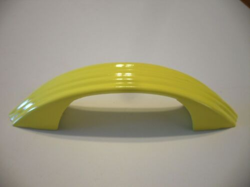 Vintage Art Deco YELLOW Drawer /Cabinet Pulls Ribbed Face Handles National Lock