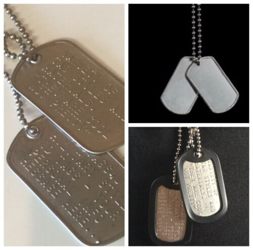 MILITARY DOG TAGS ID TAG CUSTOM US ARMY STYLE STAINLESS STEEL PERSONALISED FREE <br/> LIFETIME GUARANTEE TEXT& FREE TRACKING ON MULTIPLE SETS