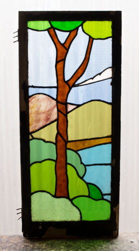 Large Tall Antique Stained Glass Window Ten Color Scene Lonely Tree       (2989)