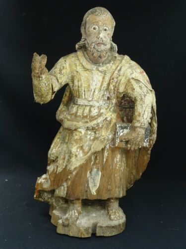 """ANTIQUE MEXICAN HAND CARVED WOOD SANTOS POLYCHROME SCULPTURE w/ GLASS EYES 18"""""""
