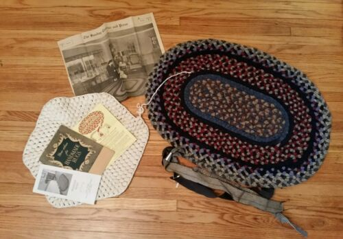 1940s Vintage Antique Farmhouse Primitive Braided Rug with papers and tools