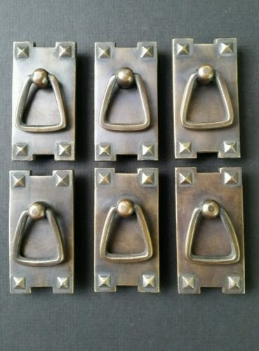 "6 Mission Stickley antique style brass vertical ring handles pulls 2 1/2"" #H25"