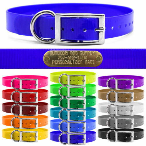 """Hunting Dog Name Collar Strap 1"""" Solid Color D Ring & Free Brass ID Plate  <br/> Premium Glow Tuff  Dog Collars! 15 Colors!"""