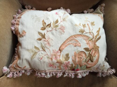 Large Antique French Aubusson Tapestry Pillow with Fringe & Silk Back 18th c.