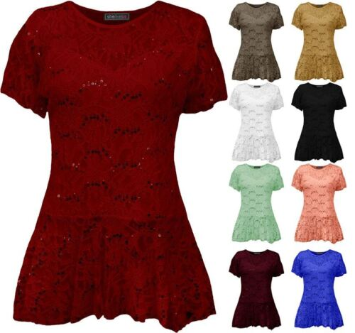 Womens Floral Pattern Short Sleeve Flared Peplum Frill Plus Size Lace Top Tunic