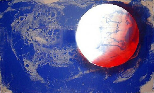 HOWARD HODGKIN 'Moon' 1987 SIGNED Hand-Colored Lithograph Print (cat. no. 77)