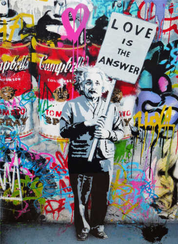 Mr Brainwash Oil Painting on Canvas Graffiti art Love is The Answer 28x36""