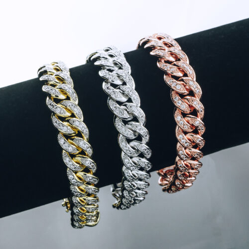 18K Gold Iced Out CUBAN Miami Chain Rose Micropave Simulate Diamond Men BRACELET