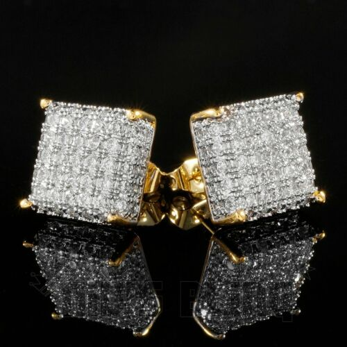 18K Gold ICED OUT Lab Simulated Diamond Stud Square Bling Hip Hop Mens Earrings