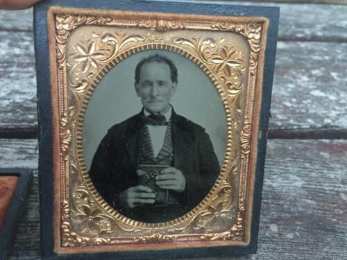 Antique Ambrotype Photograph of Man Holding Book Rosy Cheeks Black Case