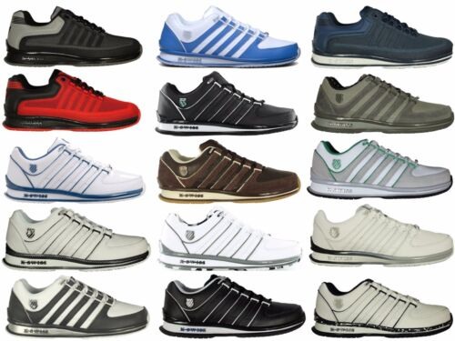 Mens New K Swiss Rinzler Lace Up Trainers Casual  Shoes Sneaker Black White Red
