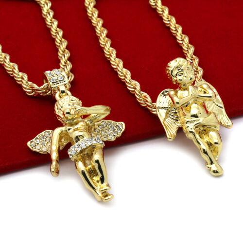 """Men 14k Gold Plated High Fashion 2 pcs set of Angels 4mm 30"""" & 24"""" Rope chain #5"""