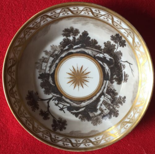 Antique Old Paris Porcelain Saucer Plate Dish 19th c. Empire 1800 - 1810