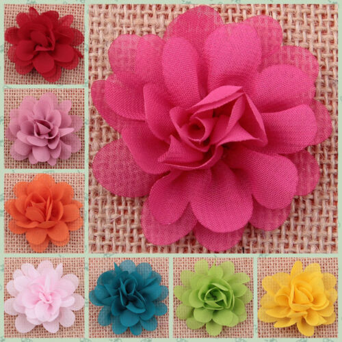 DIY 5/20PCS Lot Baby Girls Chiffon Flower Headband Corsage Ribbon Bow No Clip