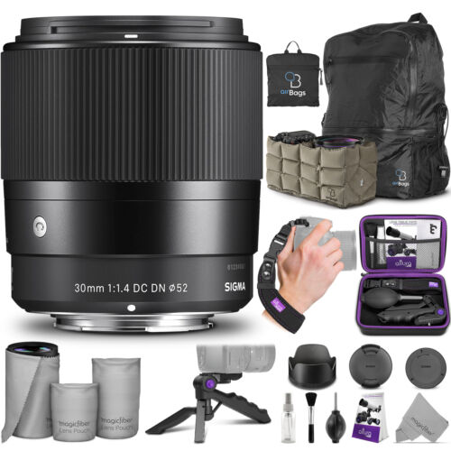 Sigma 30mm F1.4 Contemporary DC DN Lens for Sony E Mount with Essential Bundle <br/> SIGMA AUTHORIZED DEALER with Sigma USA 4-Year Warranty