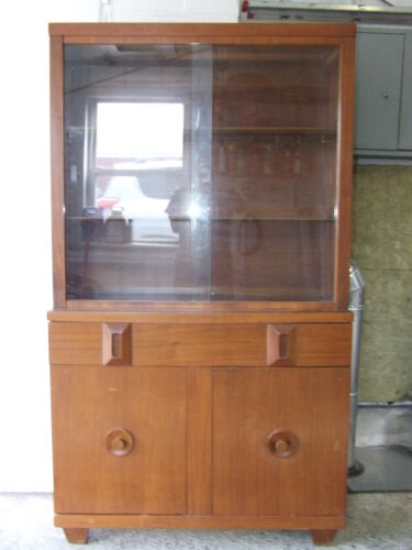 Vintage Signed 1950's AMERICAN OF MARTINSVILLE Mid Century China Cabinet Hutch