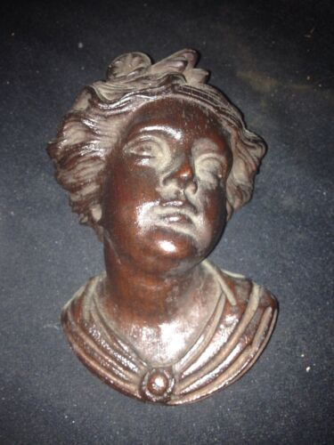1930's Carved Wood Woman's Head Pediment