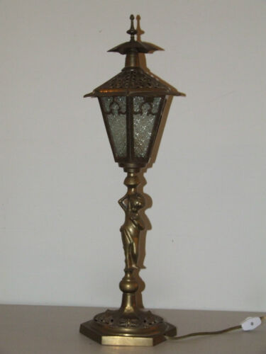 "Antique 21"" Brass Figural Woman Lantern Lamp Post Slag Glass Boudoir Table Lamp"