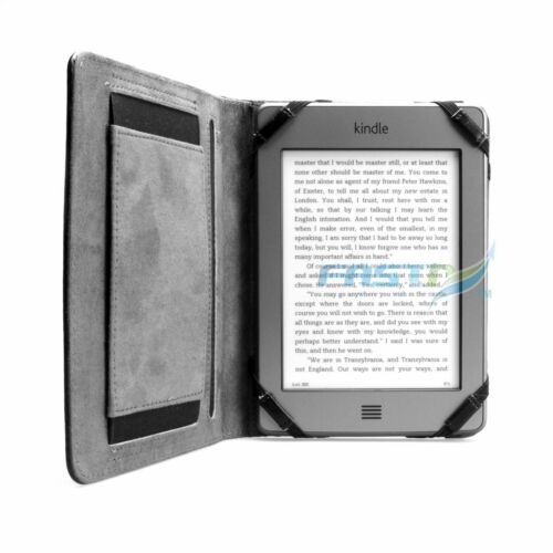 PREMIUM BLACK LEATHER CASE COVER WALLET FOR AMAZON KINDLE TOUCH / 4