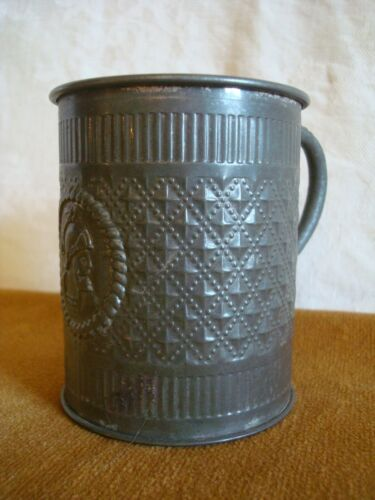 19th Century EMBOSSED PRESSED TIN CUP Original Paint ROMAN SOLDIER w/Handle