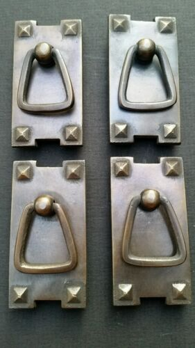 "4 Mission Stickley antique style brass vertical ring handles pulls 2 1/2"" #H25"