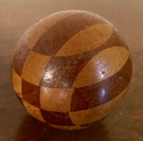 Antique Hand Made Turned Treen Wood Ball Sphere Harlequin Design