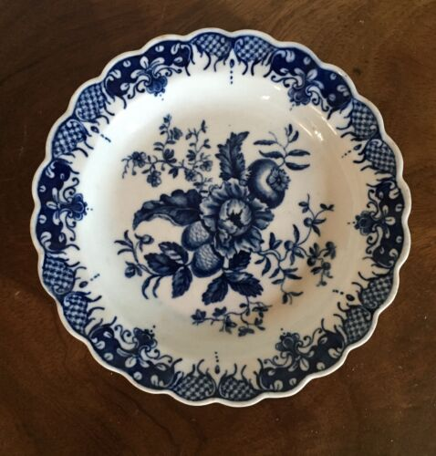 Antique 18th century English Worcester Caughley Blue & White Porcelain Plate